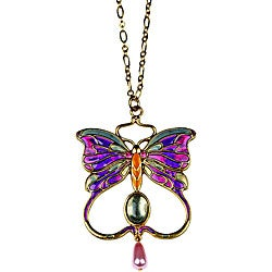 Pewter Art Nouveau Vintage Butterfly Necklace