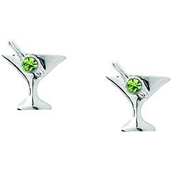 Lead-free Pewter Green-Austrian-crystal Sweet-martini Earrings