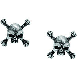 Lead-free Antique-finish Pewter Skull and Crossbones Stud Earrings