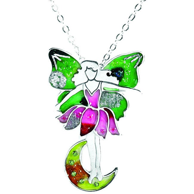 Pewter Pink and Green Fairy Necklace