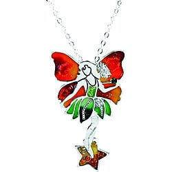 Pewter Orange Fairy Necklace