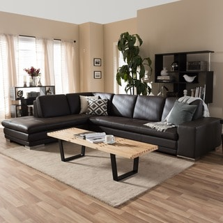 Larry Dark Brown Leather Reverse Sectional Sofa/ Chaise Set