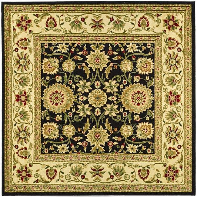 Lyndhurst Collection Majestic Black/ Ivory Rug (6 Square)