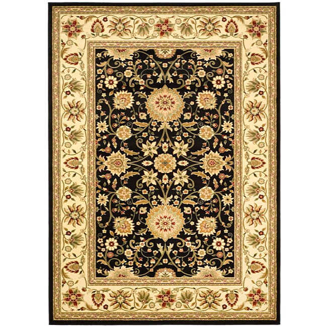 Lyndhurst Collection Majestic Black/ Ivory Rug (6 X 9)