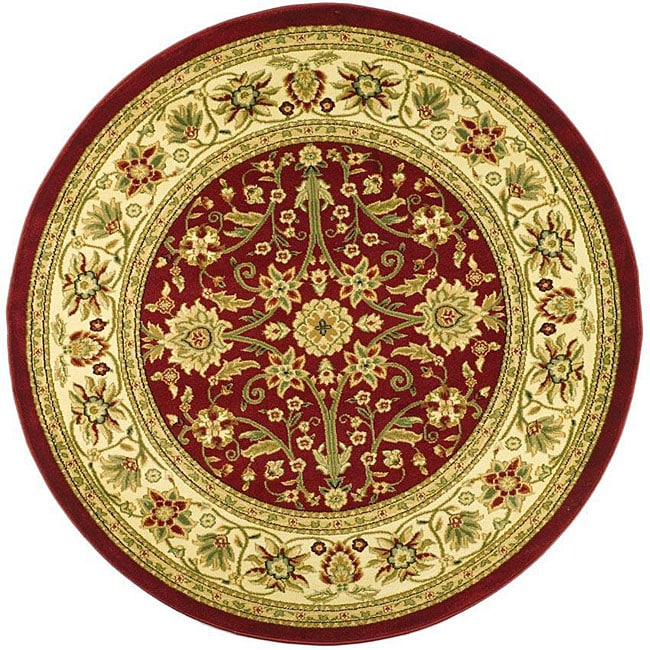 Lyndhurst Collection Majestic Red/ Ivory Rug (53 Round)