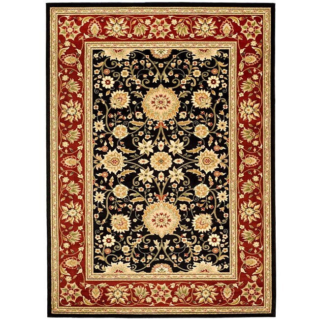 Lyndhurst Collection Majestic Black/ Red Rug (6 X 9)