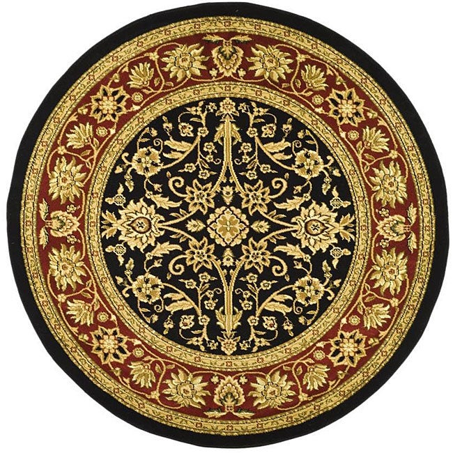 """Safavieh Lyndhurst Traditional Oriental Black/ Red Rug - 5'3"""" x 5'3"""" round"""