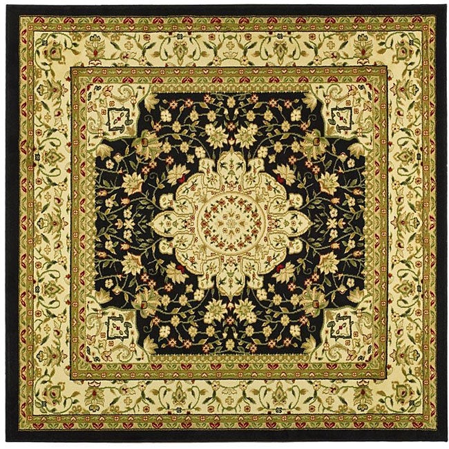 Lyndhurst Collection Mashad Black/ Ivory Rug (8 Square)