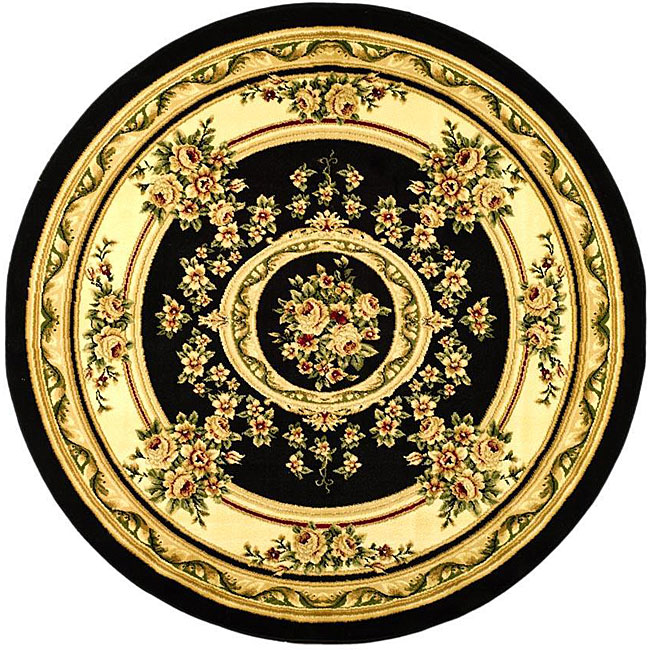Lyndhurst Collection Polypropylene Black/ivory Rug (53 Round)