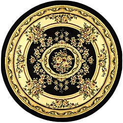 Safavieh Lyndhurst Traditional Oriental Black/ Ivory Rug (5'3 Round)