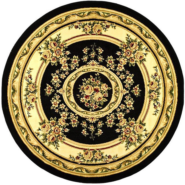 Lyndhurst Collection Black/ivory Area Rug (8 Round)