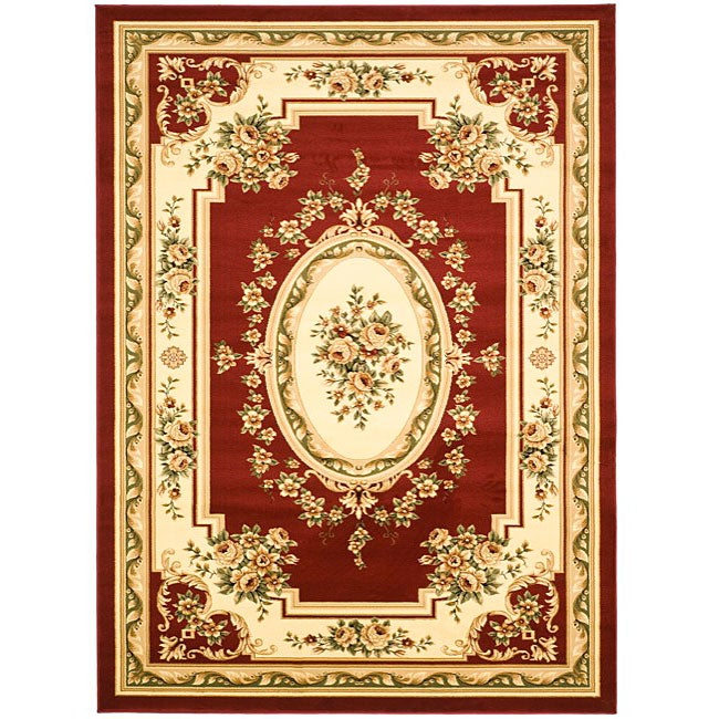 Safavieh lyndhurst traditional oriental red ivory rug 8 for 10x10 living room rugs