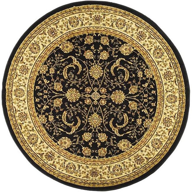 Lyndhurst Collection Black/ Ivory Rug (53 Round)