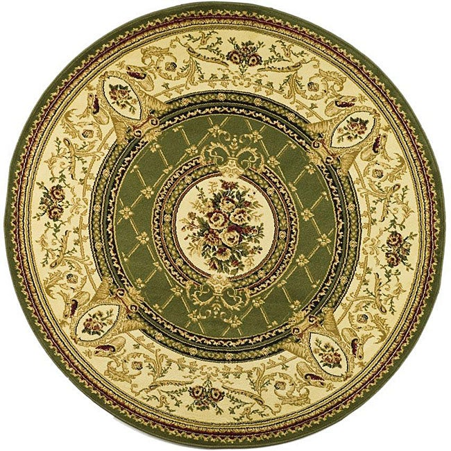 Lyndhurst Collection Traditional Sage/ Ivory Rug (8 Round)