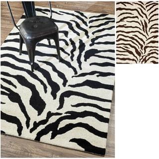 nuLOOM Handmade Zebra Animal Pattern Wool Rug (6' x 9')