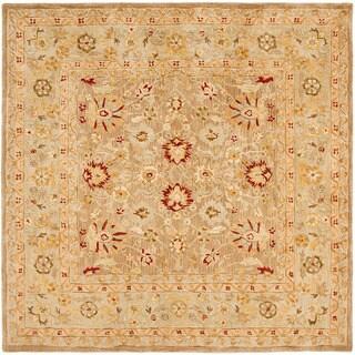Safavieh Handmade Anatolia Oriental Tan/ Ivory Hand-spun Wool Rug (6' Square)