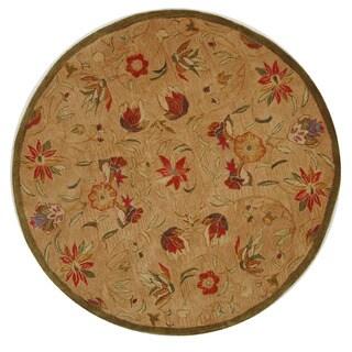 Safavieh Handmade Anatolia Oriental Traditional Beige Hand-spun Wool Rug (8' Round)