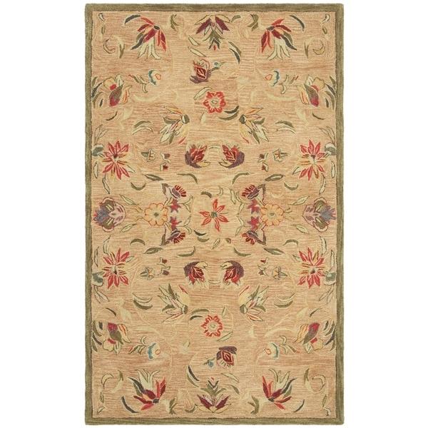 "Safavieh Handmade Anatolia Oriental Traditional Beige Hand-spun Wool Rug - 9'6"" x 13'6"""
