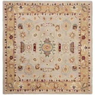 Safavieh Handmade Anatolia Oriental Traditional Ivory/ Gold Hand-spun Wool Rug (6' Square)