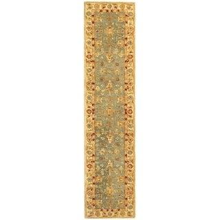 Safavieh Handmade Anatolia Oriental Heirloom Blue/ Ivory Hand-spun Wool Rug (2'3 x 14')