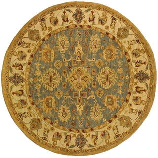 Safavieh Handmade Anatolia Oriental Heirloom Blue/ Ivory Hand-spun Wool Rug (4' Round)