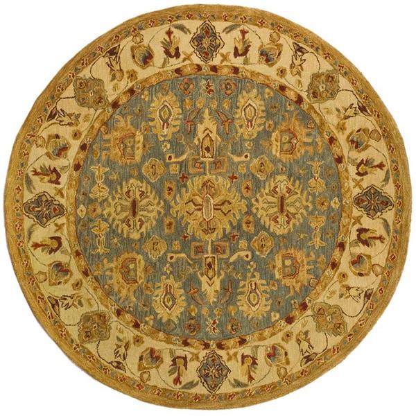 Safavieh Handmade Anatolia Heirloom Blue/ Ivory Wool Rug (4' Round)