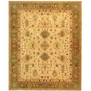 Safavieh Handmade Anatolia Oriental Heirloom Ivory/ Light Green Hand-spun Wool Rug (9' x 12')
