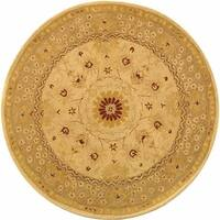 Safavieh Handmade Anatolia Oriental Timeless Ivory/ Sand Hand-spun Wool Rug - 4' x 4' Round