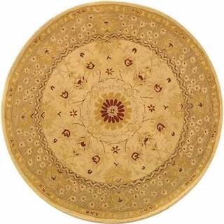 Safavieh Handmade Anatolia Oriental Timeless Ivory/ Sand Hand-spun Wool Rug (8' Round)
