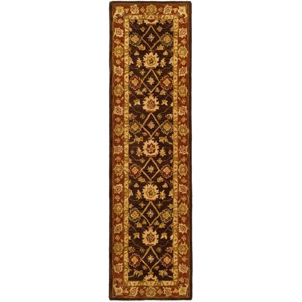 Safavieh Handmade Anatolia Oriental Kerman Olive/ Rust Hand-spun Wool Runner (2'3 x 14')