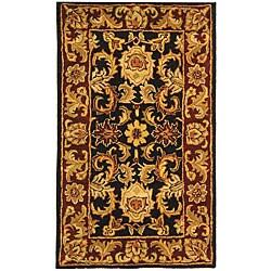 Safavieh Handmade Classic Regal Black/ Burgundy Wool Runner (2'3 x 4')