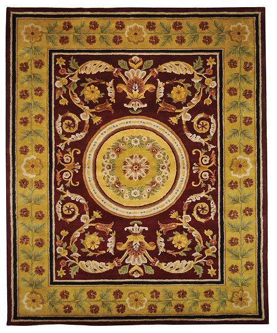 Safavieh Handmade Classic Agra Burgundy/ Gold Wool Rug (5' x 8')