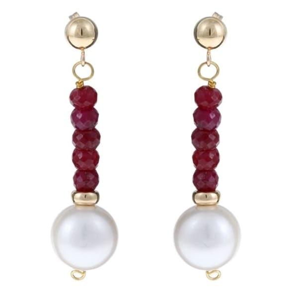 Davonna 14k Gold White Fw Pearl And Ruby Hangy Earrings 10 11 Mm