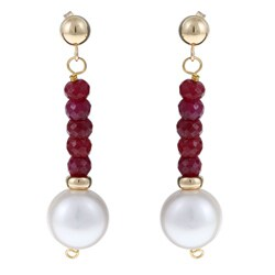 DaVonna 14k Gold White FW Pearl and Ruby Hangy Earrings (10-11 mm)