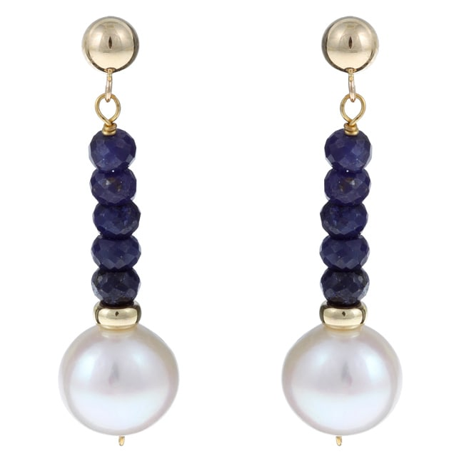 DaVonna 14k Gold White FW Pearl and Sapphire Drop Earrings (10-11 mm)