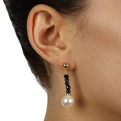 DaVonna 14k Gold White FW Pearl and Sapphire Drop Earrings (10-11 mm) - Thumbnail 2