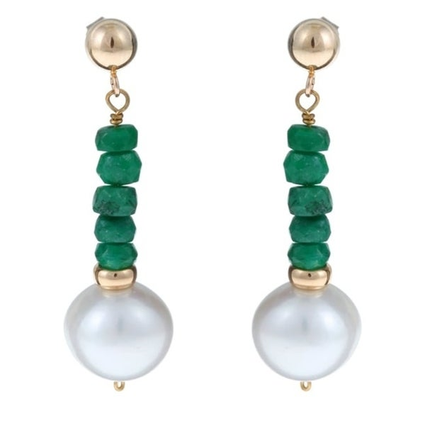 b587636200d6d Shop DaVonna 14k Gold White FW Pearl and Emerald Drop Earrings (10 ...