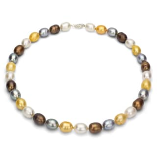 DaVonna Silver Multi-colored Rice Shaped FW Pearl Necklace (10-11 mm)