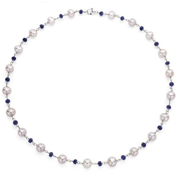 a1fb1481a DaVonna Sterling Silver Freshwater Pearl and Sapphire Necklace (8-8.5 mm)