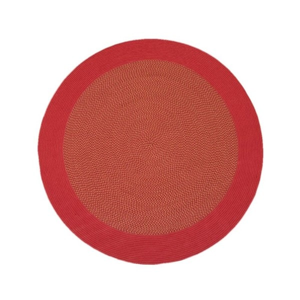 Donegal Indoor/ Outdoor Barn Red Braided Rug (6' Round)