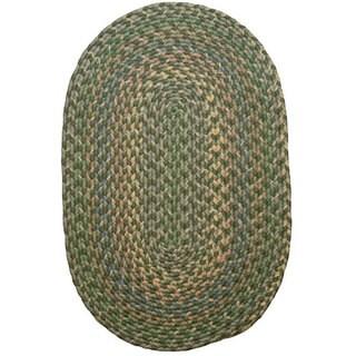 Brookline Green Indoor/ Outdoor Braided Rug (3'6 x 5'6)