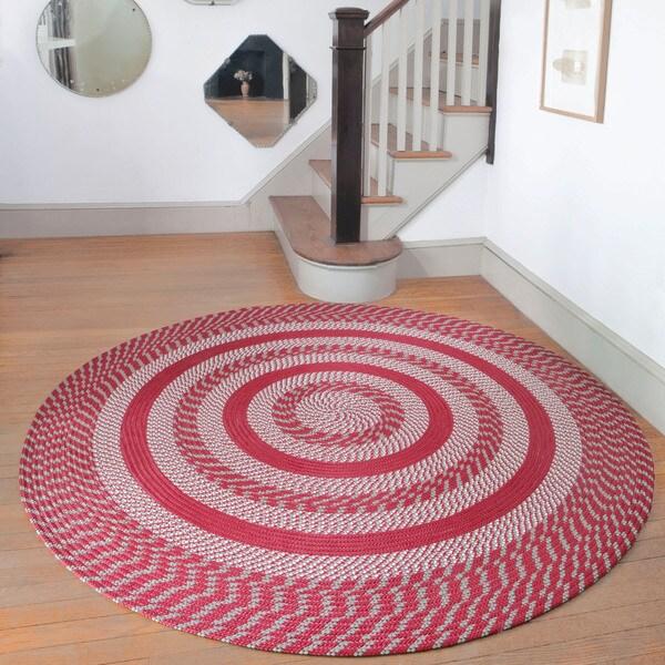 Cambridge Barn Red / Olive Braided Rug (8' Round)