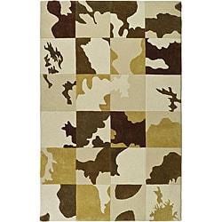 "Safavieh Handmade Soho Modern Abstract Ivory Wool Rug - 3'6"" x 5'6"" - Thumbnail 0"