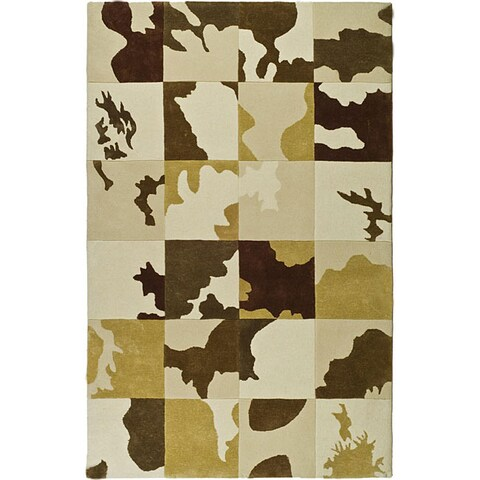 Safavieh Handmade Soho Modern Abstract Ivory Wool Rug - 5' x 8'