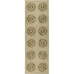 Safavieh Handmade Deco Explosions Beige/ Multi N. Z. Wool Runner (2'6 x 8)
