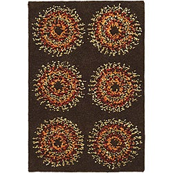 Safavieh Handmade Deco Explosions Brown/ Multi N. Z. Wool Rug (2' x 3')