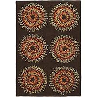 Safavieh Handmade Deco Explosions Brown/ Multi N. Z. Wool Rug (2' x 3') - 2' x 3'