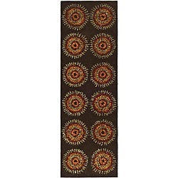 Safavieh Handmade Deco Explosions Brown N. Z. Wool Runner (2'6 x 8')