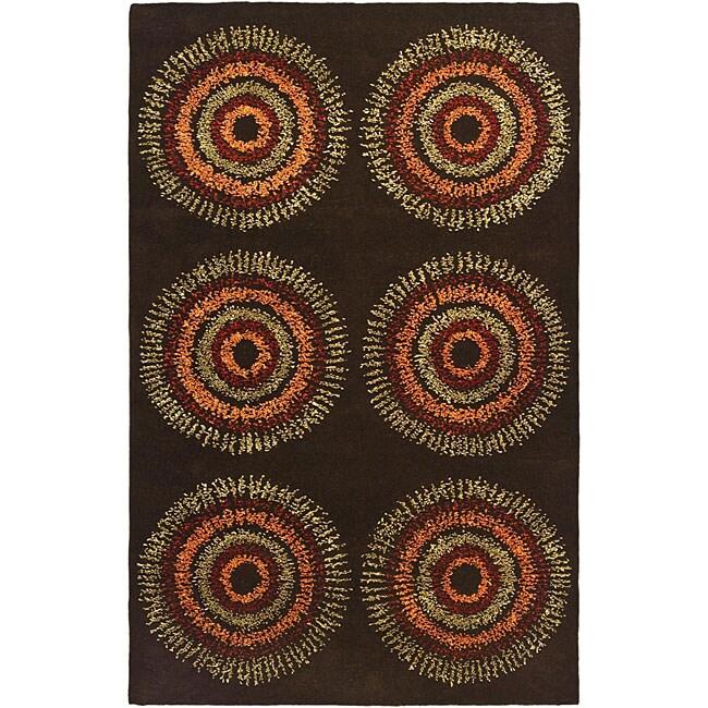 Safavieh Handmade Deco Explosions Brown/ Multi N. Z. Wool Rug (5' x 8')
