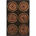 Safavieh Handmade Deco Explosions Brown/ Multi N. Z. Wool Rug (5' x 8') - 5' x 8'
